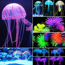 NEW Aquarium Fish Tank Landscaping LED Light Decor Glow Jellyfish Coral Ornament
