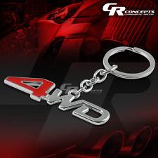 Auto Car/Truck Polished Red/Chrome 4Wd Logo Metal Key Chain Charm Chain Ring