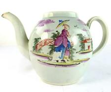18TH CENTURY ENGLISH PEARLWARE CERAMIC TEAPOT CHINESE LADY WITH PARASOL