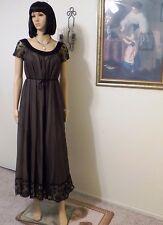 CLAIRE SANDRA by LUCIE ANN BH VTG BLACK & TAN NYLON CHIFFON PEIGNOIR SET size 34