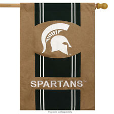 "Michigan State University Spartans Burlap NCAA House Flag 2 Sided 28"" x 44"""