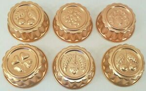 """Set 6 Copper Colored Aluminum Metal Molds Gelatin Soap Butter 3.5""""  approx 1 cup"""