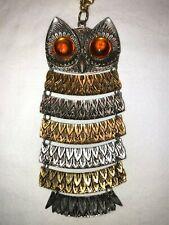 Vintage Large Ornate Movable Owl Pendant Necklace Park Lane