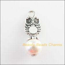 6Pcs Tibetan Silver Tone White Glass Round Beads Animal Owl Charm Pendant 8x23mm
