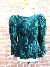 Stunning 80's Frank Usher green velvet jacket/top w leg o mutton sleeves UK 12