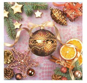 Christmas Napkins for Decoupage Paper Craft Serviettes Orange 33x33cm 3PLY x20