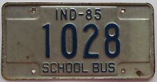 Indiana 1985 SCHOOL BUS License Plate # 1028