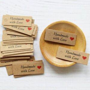 100pcs Kraft Paper Tags with Strings Handmade with Love Hang Tags Garment Tags