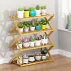 Various Bamboo Plant Stand Rack Multi Wood Shelves Bonsai Flower Display Storage