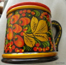 Russian Wooden Khokhloma Hand Painted The Mug /Cup/
