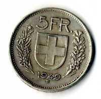 Moneda Suiza 1949B 5 francos suizos plata .835 silver coin