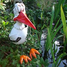 Keramik *Storch mit Frosch* Gartenstecker Kantensitzer Vogel Deko Skulptur Figur