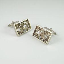 1960s 1970s Silver Mens Groom Wedding Modernist Cuff Links Mid Century 1950s