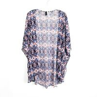 UNIQUE boho wrap kimono beach light one size blue african print XS S M L XL OS