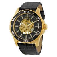 Invicta Specialty Black Skeletal Dial Grey Leather Men's Watch 17261