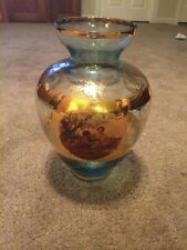"Tall Clear Gold Glass Vase Decorative Beautiful 9"" Unique"