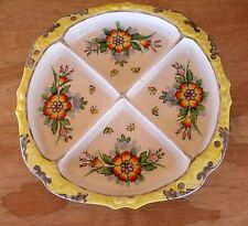 Sweet Shabby VTG 4-Section Divided Candy Nut Dish Japan Bright Colors Flowers