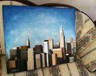 New York City Skyline Oil Painting Large Original Empire State Building Chrysler