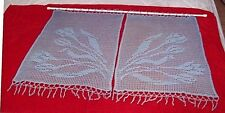 Handmade Vintage Crochet Cotton Cafe Curtain ~ 2 Blue Panels with Tulips Nice!