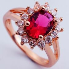 SIZE 8 ROMANTIC RED C.Z FLOWER DESIGN ROSE GOLD PLATED RING+GIFT POUCH(8391)