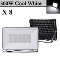 8X 300W LED Flood Light Cool White Arena Outdoor Garden Yard Spotlight IP67 NEW