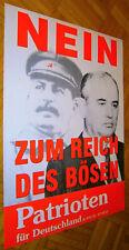 """Anf. 90s ORIGINAL Plakat """"Patrioten für Deutschland"""" Stalin / Gorbatschow CCCP"""