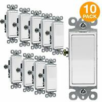 Decorator 15A Rocker Switch Single Pole Light Controller White 10 Pack