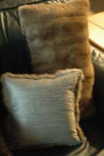 AUTHENTIC Recycled Light Brown Mink Pillows with Gold Streak Pattern Set of 2