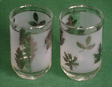 Pair Vintage Libbey Frosted Silver Leaf 12 oz Glasses