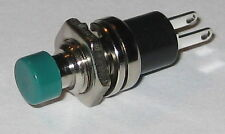 """Momentary Green Pushbutton Switch - Panel Mount - SPST N.O. - 1/4"""" Mounting Hole"""