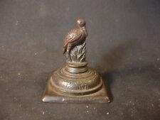 Old Vtg Antique Decorative Cast Iron Pelican Bird Lamp Top Set