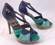 JESSICA SIMPSON JS BROUGE size 9B Ankle Strap Platform Heels Shoes Purple/Green