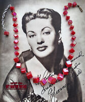 VINTAGE RED AURORA BOREALIS CUBE BEADS NECKLACE 1950s ROCKABILLY XMAS PARTY GIFT