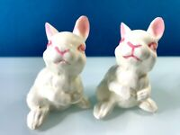 Ceramic Bunny Rabbit Figurine Made in Japan Vintage Collectible Mini Cute White