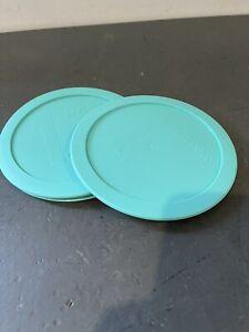 2 Lids Pyrex 322 PC 1-Quart Round Light Blue Plastic Mixing Bowl Storage Cover