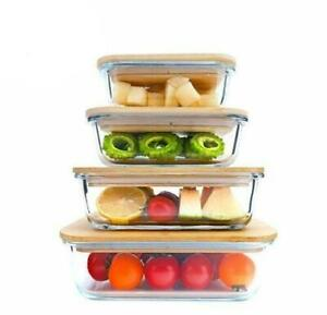 Glass Food Container with Bamboo Lids Set of 4 Storage Airtight Eco Friendly