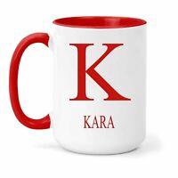 Kara Nombre & Inicial Taza - Regalo en Varios Colores para Café o Té