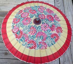 "Vintage Japanese Hand Painted Rice Paper Umbrella Parasol Pink Floral 37"" Diam"