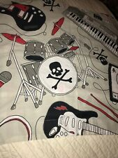 Jumping Beans Cotton Poly Blend Single Rock Roll Skull Drums Pillowsham Guitar
