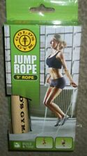 BRAND NEW Golds Gym Jump Rope 9' Rope With Natural Wood Handles