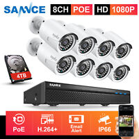 SANNCE 1080P HD POE In/ Outdoor Security IP Camera System 8CH Network NVR 0-4TB