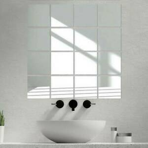 9X Glass Mirror Tiles Wall Sticker Square Self Adhesive Stick On Art Home Decor
