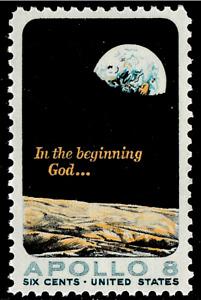 1969 APOLLO 8 MISSION COMMEMORATIVE STAMP ~ # 1371 NASA Moon 6c Stamp  NEW
