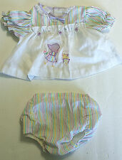 Vtg Easter Baby Girl 2 Pc Outfit Apron Shirt Rubber Lined Bloomers HOLLY HOBBIE
