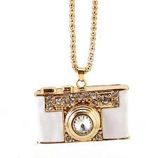 rhinestone camera pendant necklace,crystal camera charm necklace,white color