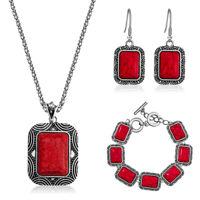 Fashion Woman Retro Classic Turquoise Necklace Earrings Bracelet  Jewelry Set