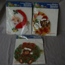 3 Christmas Crystalline Window Decoration Stain Glass Look Vintage GiftCo Inc
