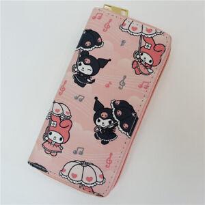 kuromi PU melody purse wallet card bag handbag long zip wallets bags X'mas gift