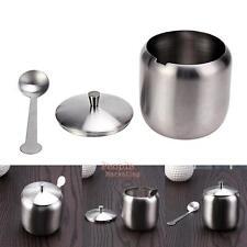 350ML Stainless Steel Sugar Pot Tea Sauces Coffee Jam Lid Salt Bowl w/ Spoon Cup