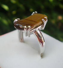 Tiger's Eye Unique ring 925 sterling silver size O1/2
